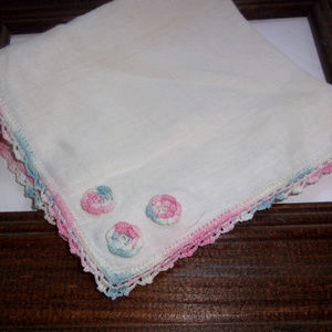 Accessories - Vintage pink and blue and white hanky